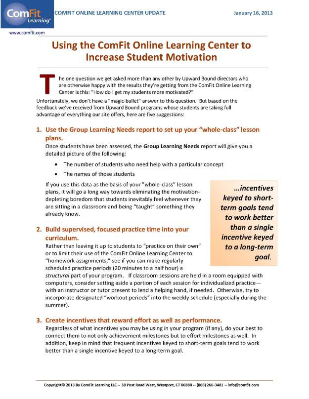 Using the ComFit Online Learning Center to Increase Student Motivation