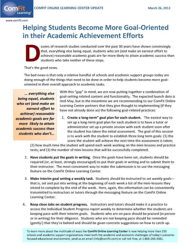 Helping Students Become More Goal-Oriented in their Academic Achievement Efforts